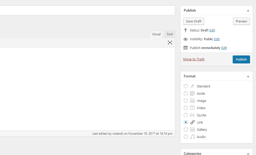 Ýmsar gerðir færslna í WordPress