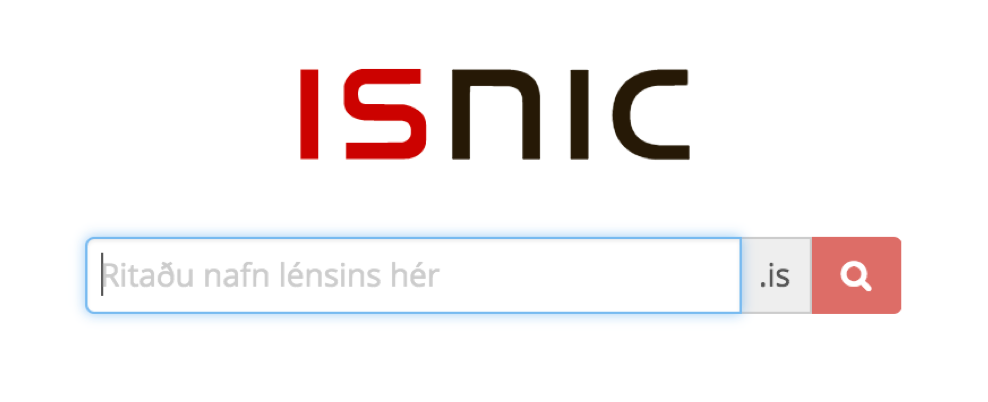 Mynd af ISNIC leitarglugga